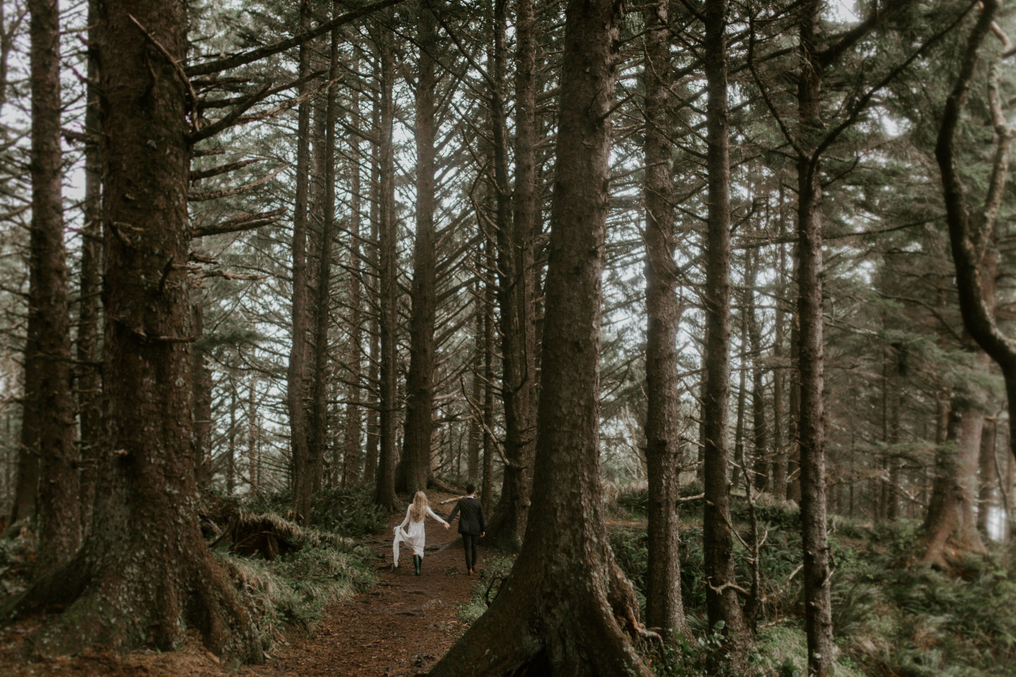 Hannah and Grant walk along the path of Cannon Beach, Oregon. Wedding photography in Portland Oregon by Sienna Plus Josh.