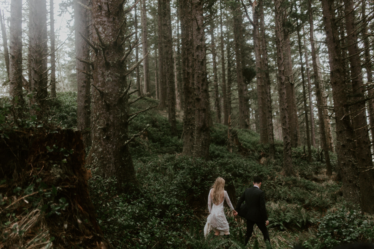 Hannah and Grant walk through the woods in Cannon Beach, Oregon. Wedding photography in Portland Oregon by Sienna Plus Josh.