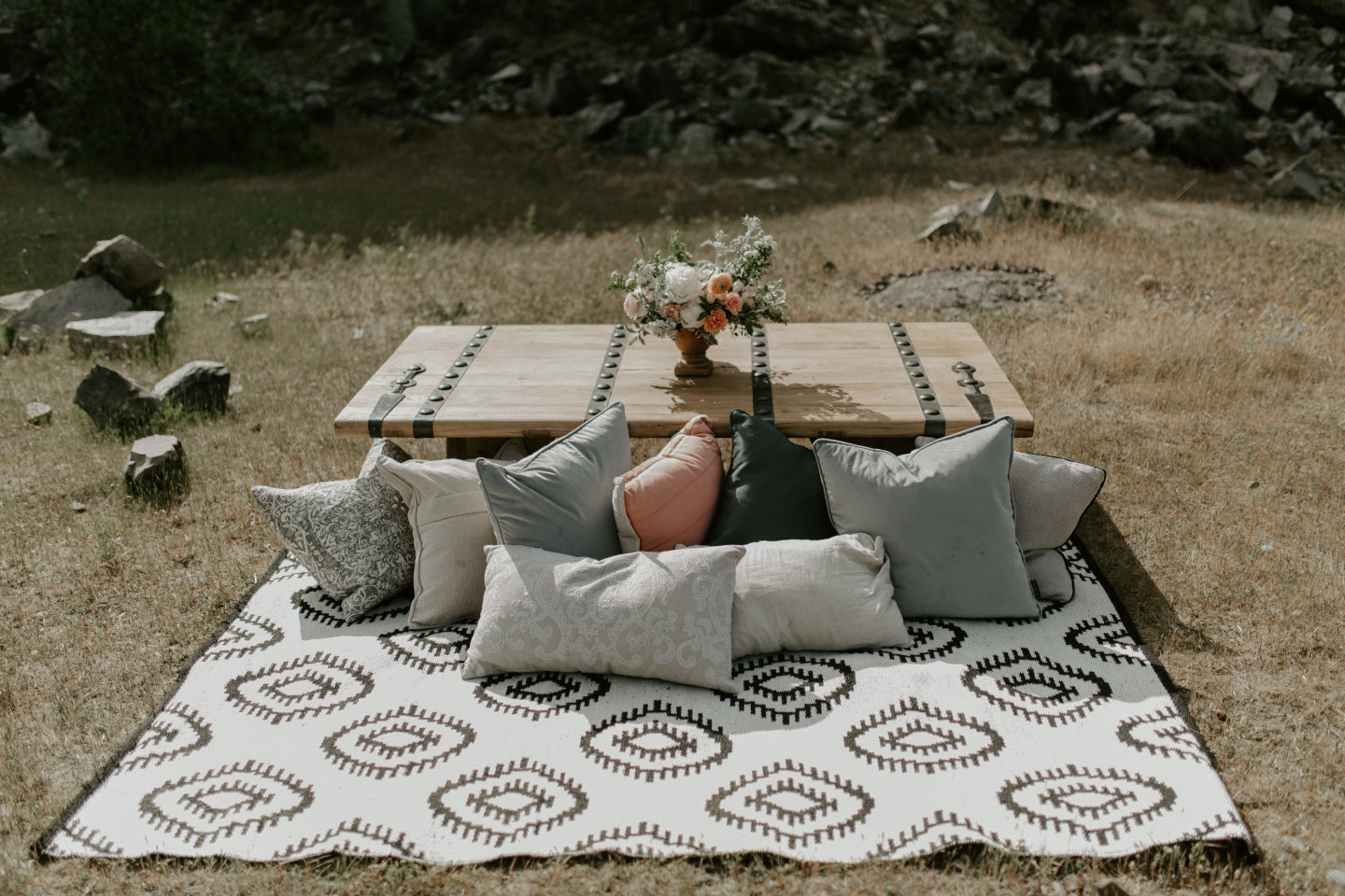 The picnic/relaxing area for Harper and Trevor at Cascade Locks. Elopement photography in Portland Oregon by Sienna Plus Josh.