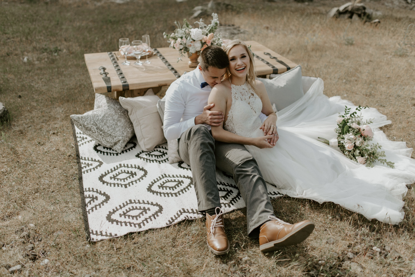 Harper and Trevor relax at Cascade Locks in Oregon. Elopement photography in Portland Oregon by Sienna Plus Josh.