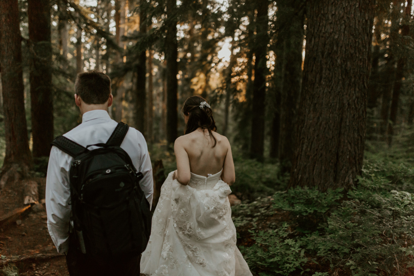 Moira and Ryan adventuring through the woods. Adventure elopement wedding shoot by Sienna Plus Josh.