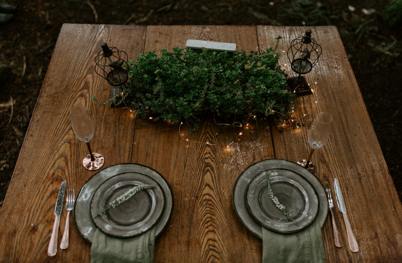 A dinner table set at Skamania House, Washington. Elopement photography in Portland Oregon by Sienna Plus Josh.