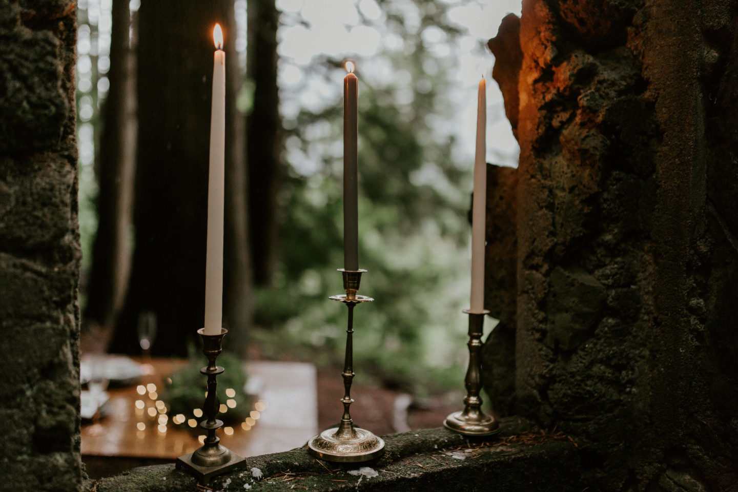 Candles were set throughout Skamania House in Washington. Elopement photography in Portland Oregon by Sienna Plus Josh.