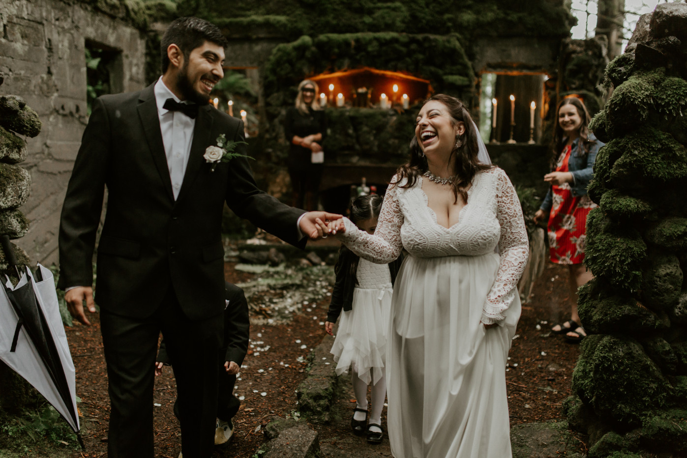 Sam and Sarah leave the altar at Skamania House, Washington. Elopement photography in Portland Oregon by Sienna Plus Josh.