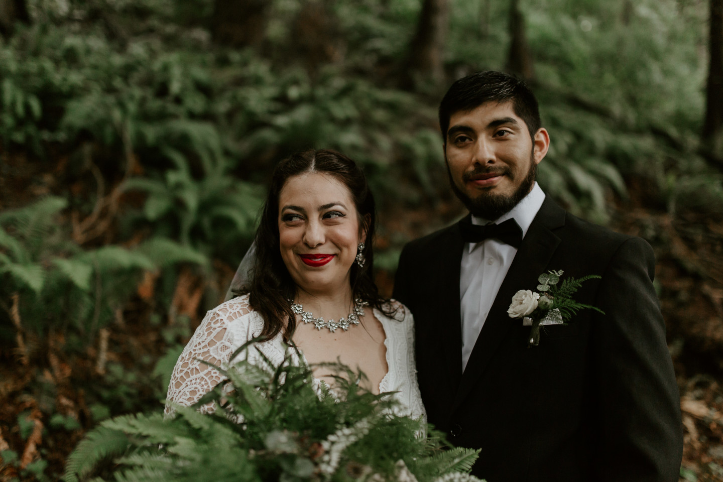 Sarah and Sam stand side by side at Skamania House, Washington during their Oregon Adventure. Elopement photography in Portland Oregon by Sienna Plus Josh.