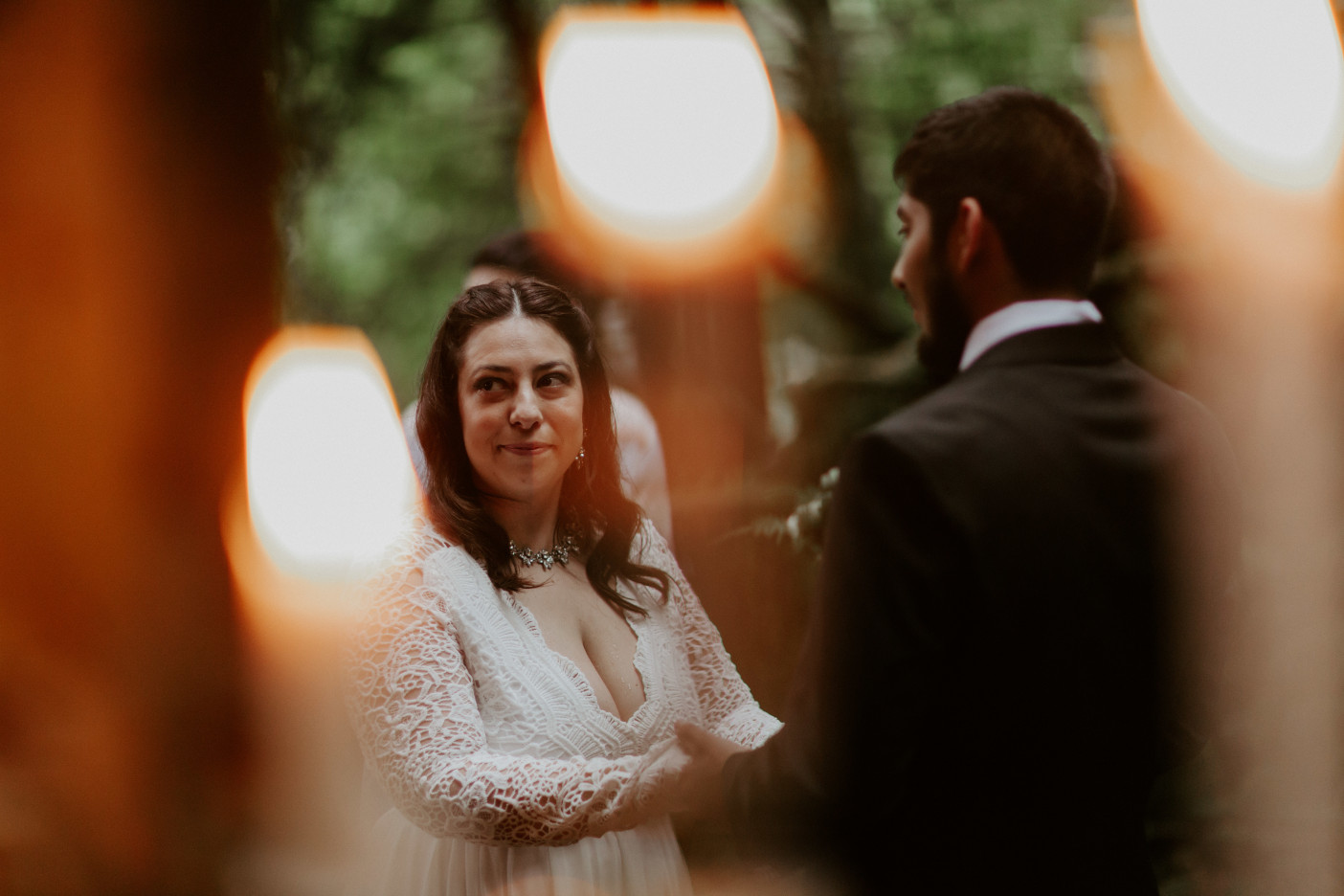 Sarah and Sam recite their vows at Skamania House, Washington. Elopement photography in Portland Oregon by Sienna Plus Josh.