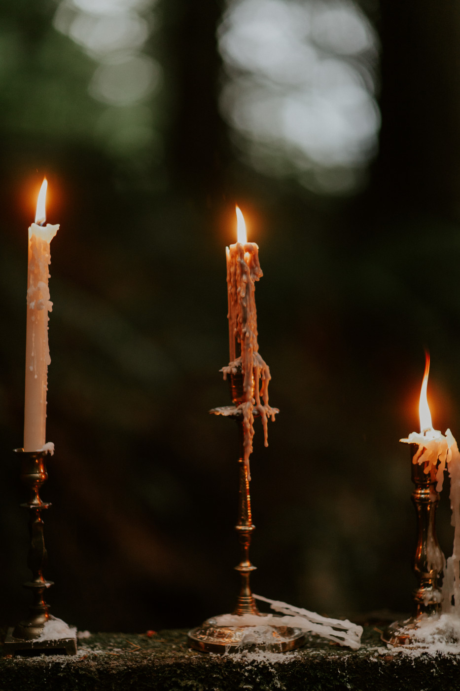 The lit candles at Skamania House, Washington. Elopement photography in Portland Oregon by Sienna Plus Josh.