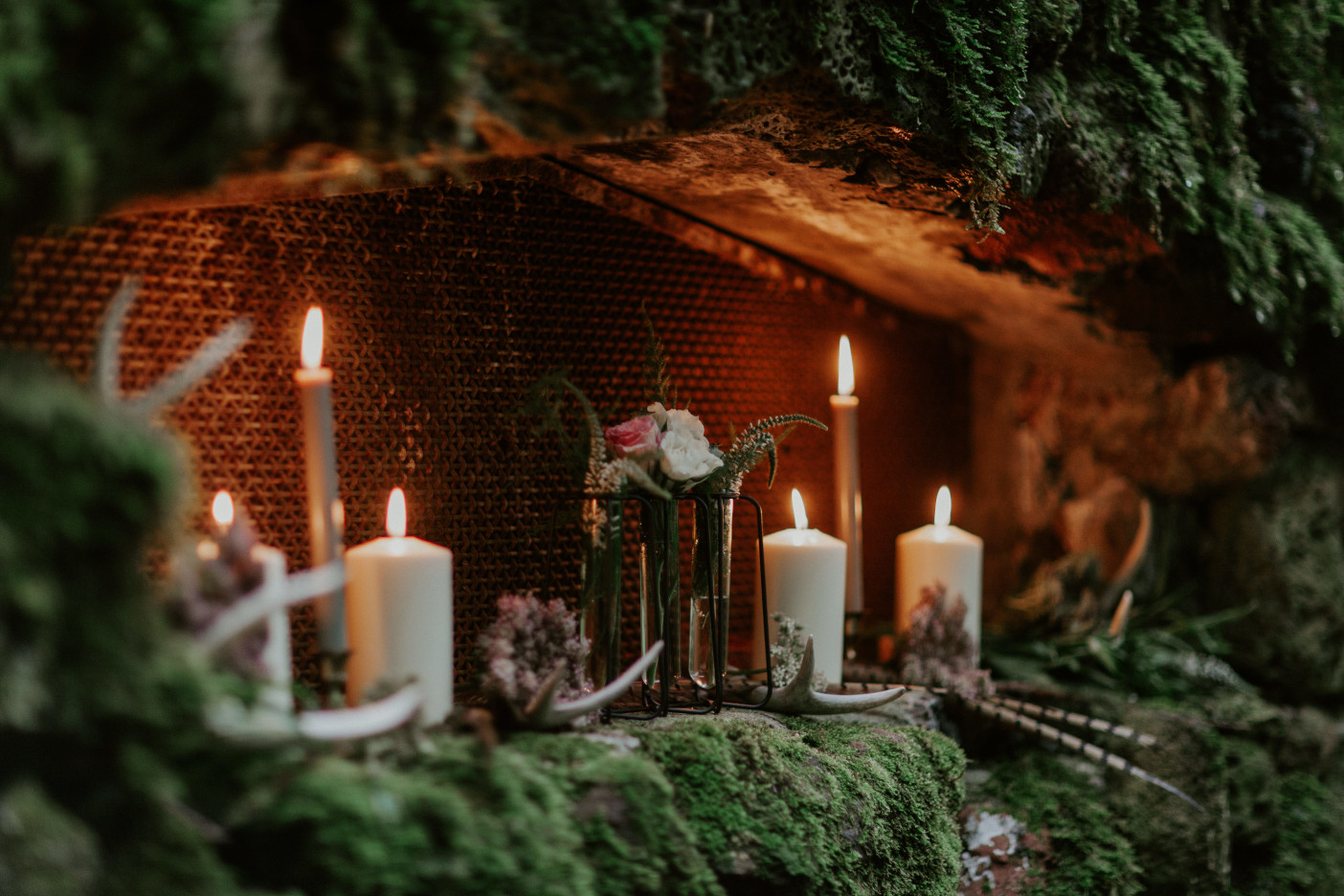 Candles glowing at Skamania House, Washington. Elopement photography in Portland Oregon by Sienna Plus Josh.